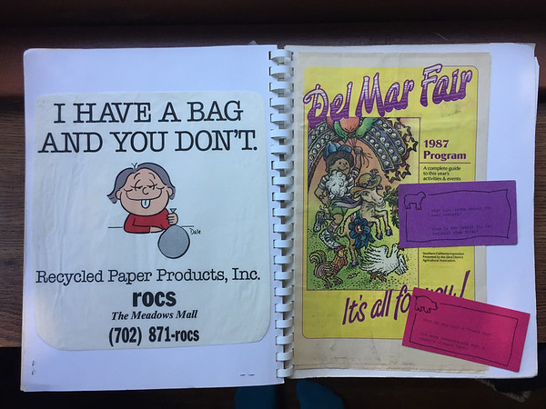 shopping bag from a place I don't remember (I just thought it was funny), another Del Mar Fair program