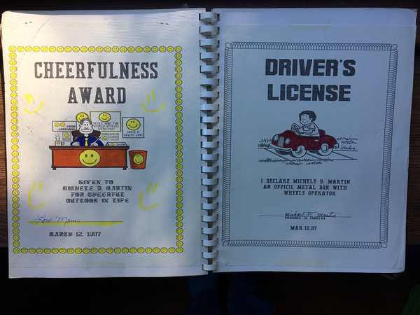 """fun with our new Broderbund Print Shop graphics program: an award from my mom for being cheerful and a declaration from my brother that I'm an """"officil metal box with wheels operator""""  I guess I had my provisional license because these are dated march 12, 1987 so I'd only be 15 (turned 16 that November)"""