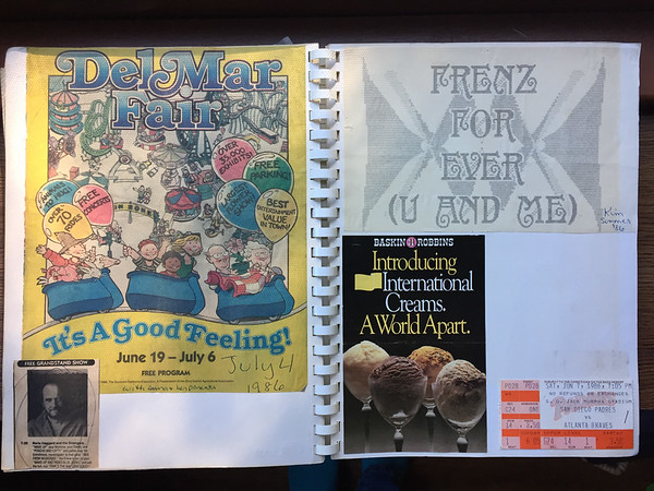 program cover from when I went with my friend Anna and her family to the Del Mar Fair in '86 (age 14), some computer art I made with my friend Kim the same summer, a flyer from my favorite ice cream store, and ticket from when Kim took me to the only baseball game I'd ever see until 2017