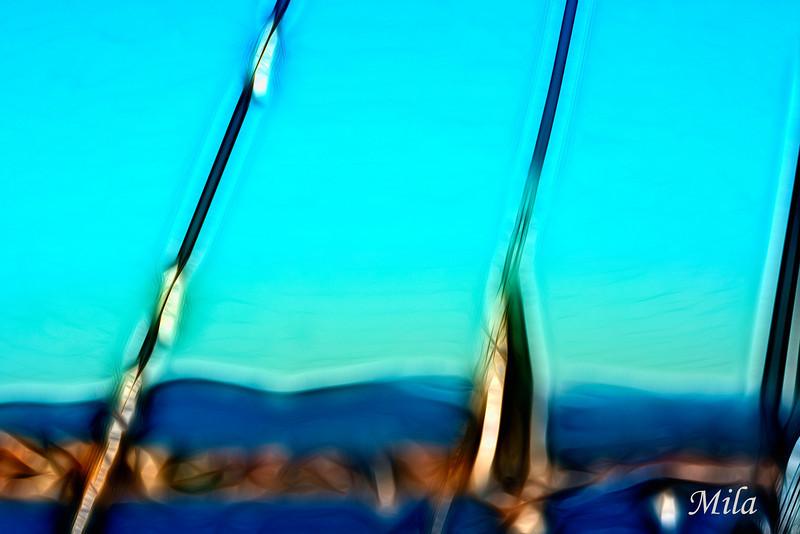 Sunset aboard a sailboat