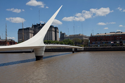 BA 129  Puente de la Mujer (Woman's Bridge), Puerto Madero district.  All streets named after women.  Buenos Aires, Argentina.