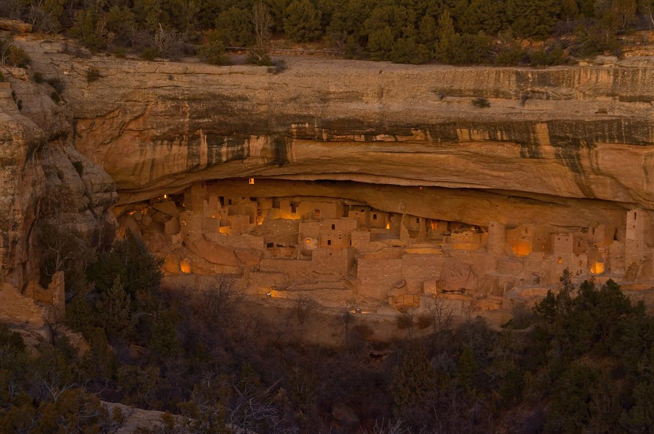 LUM101   Mesa Verde National Park, Mesa Verde, Colorado,Mesa, Anasazi,cliff dwellings,Cliff House, luminaria, centennial celebration