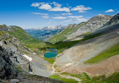 From the top of Black Bear Pass , above the box canyon leading into Telluride, Colorado.