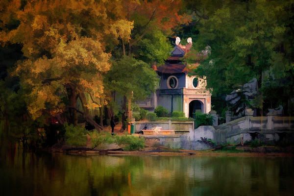 Autumn in Hoan Kiem Lake Hanoi