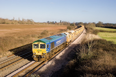 240108 Bardon 66623 on the 6C73 Westbury-Fairwater HOBC working passes Creech St Michael