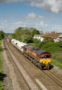 66219 with the Tavi Junct-Dollands Moor passes Creech St Michael on 090505