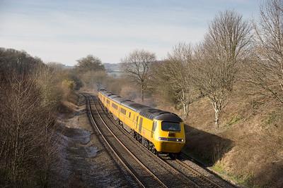 100206  43062-014 1A94  FO-Q 10:15 Plymouth-Paddington  HST measurement train at Whiteball