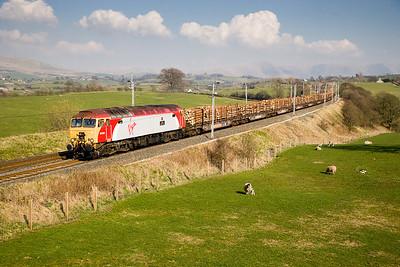 260307 57306 6Z57  FX-Q 1329 Carlisle yard-Chirk timber passes Docker