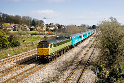 170307 47812 with 47815 at rear on 2Z53 1058 Gloucester-Cardiff at Magor.Last arriva loco hauled day for Rugby specials
