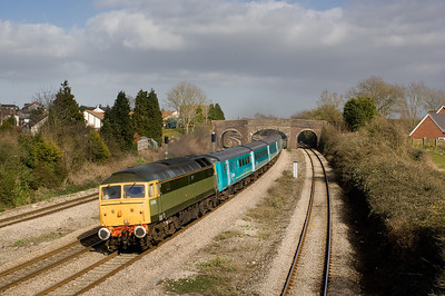 170307 47812  heads the 1358 Gloucester-Cardiff at Magor.47815 on the reaR