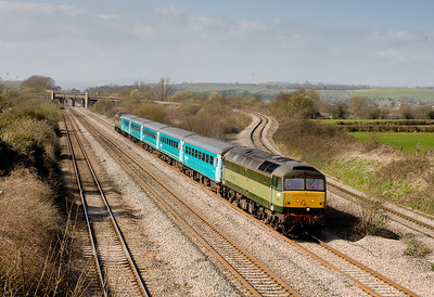 170307 47815 heads the 1235 Cardiff-Gloucester at Bishton flyover,47812 is tailing