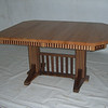 Mixed Wood Oak and Walnut Square Double Pedestal with Fluting
