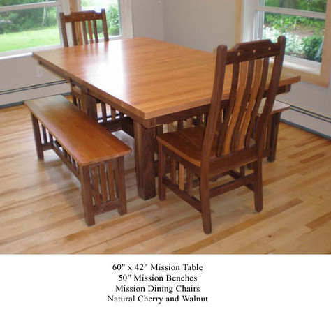 Table - Mission w/ Mission Benches and Chair in Natural Cherry and Walnut