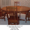 Vintage Cherry Round Pedestal Table With Leaf & Mission Chairs