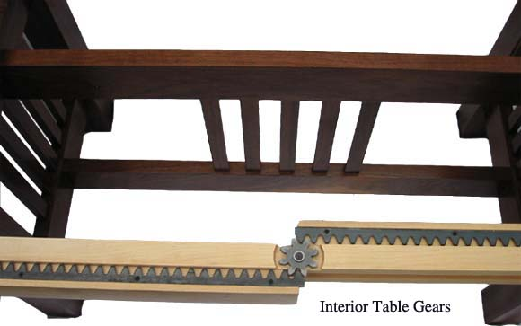 Table Mechanism with Gears on Maple Running Board
