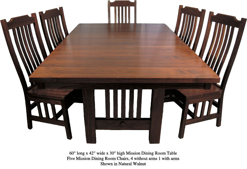 Natural Walnut Mission Table and Chairs