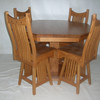 Medium Oak Western Mission Bar Stool Style Chairs and Octagon Table