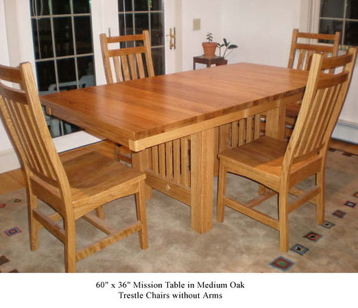 Table - Mission in Medium Oak w/ Trestle chairs without Arms