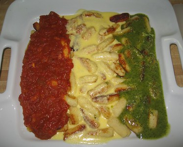 Gnocchi with Tomato, Alfredo, and Pesto Sauces (6/5/10)