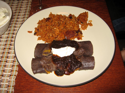 Blue Corn Pumpkin Enchiladas with Mole Sauce and Spanish Rice (10/26/08)