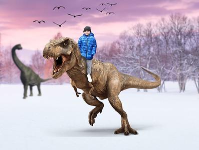 Boy in snow Trex