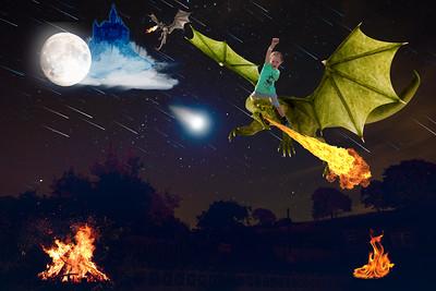 Boy on a dragon at night