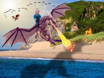 Boy on Dragon on Beach