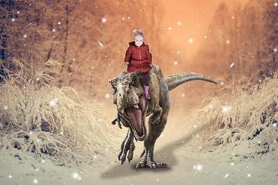 Girl in the snow trex