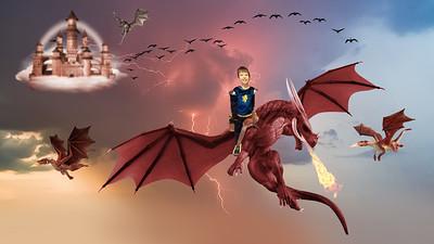 Boy on dragon sunset lightning