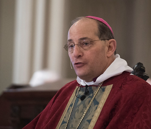 Garden City, NY: April 11, 2017--  Bishop Lawrence Provenzano, addresses the clergy in attendance at the Cathedral of the Incarnation for today's Chrism Mass.           © Audrey C. Tiernan