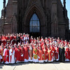 Garden City, NY: April 11, 2017--  Episcopal Diocese of Long Island clergy assembled on the steps of the Cathedral of the Incarnation for a group photo after today's Chrism Mass. © Audrey C. Tiernan