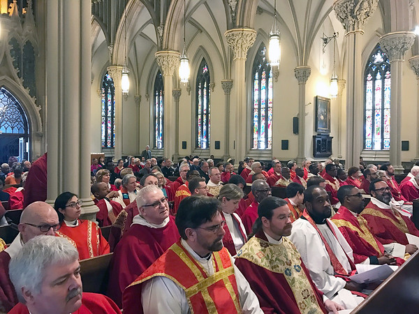Garden City, NY: April 11, 2017--   Episcopal Diocese of Long Island clergy at the Chrism Mass held today at the Cathedral of the Incarnation.                         © Audrey C. Tiernan