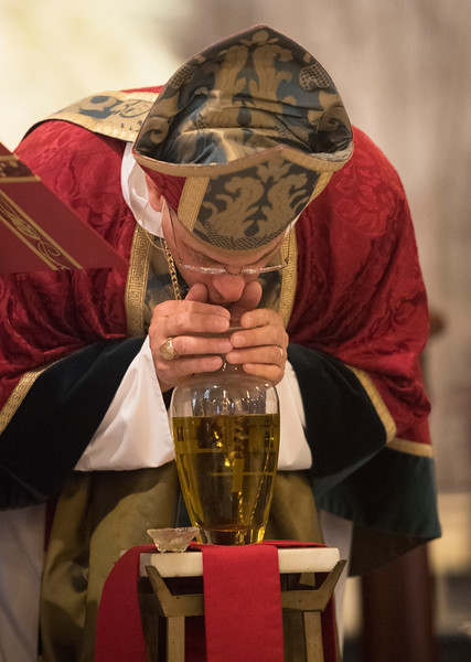 Garden City, NY: April 11, 2017--   Bishop Lawrence Provenzano blesses the oils at the Chrism Mass held today at the Cathedral of the Incarnation.                         © Audrey C. Tiernan