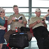 Pat and Kelly Greenlee, Bill and Pam Hill, killing time waiting for the delayed flight to Bacolod.