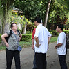 Pam telling Father Danny and Linh something important and exciting!