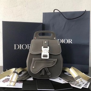 Saddle backpack in grey grained calfskin with Silver Christian Diorbuckle   Reference  1ADBA086YMJ_H00N