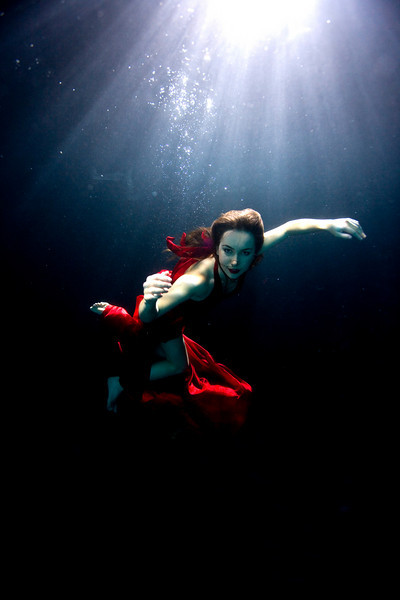 Underwater shot of Liv Boeree  Photographed by Daniella Boutin