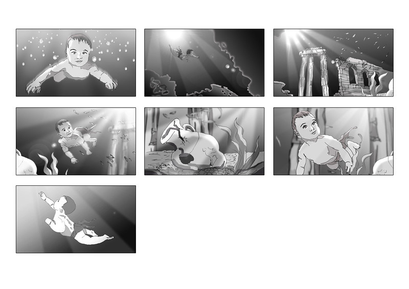 Storyboard created for 'Little Dippers' online commercial.  Artwork by Nick Sneath