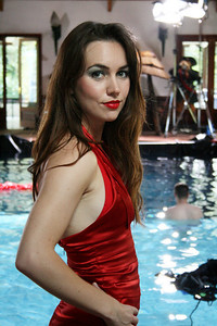 Liv Boeree preparing for the underwater shoot