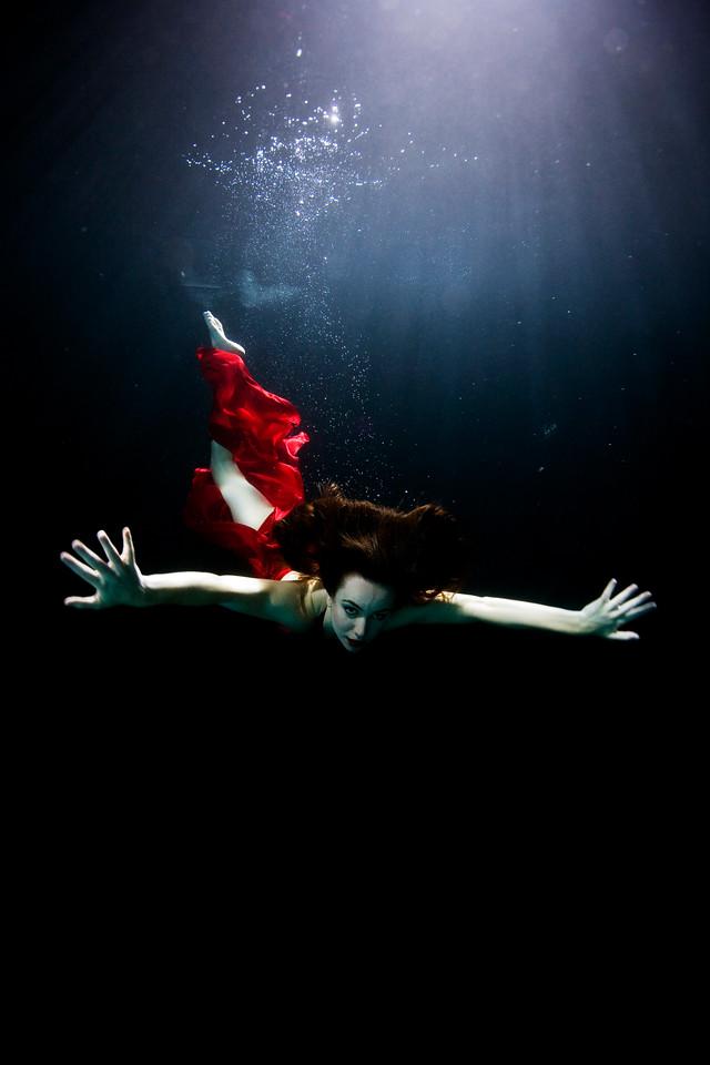 Underwater shot of Liv Boeree  Photographed by Daniella Boutin