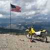 The top of American Flag Mountain, 12,500 feet. Move my DRZ forward another 6 feet and it goes down a couple thousand feet. Yes the flag is right on the edge of the mountain.
