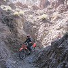 """An """"easy trail"""" with just a few rocks.... Dave Pihl is exploring his options. Can you see the grin?"""