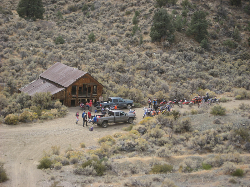 Looking down onto the group at the lunch and gas stop at Pine Grove ghost town.