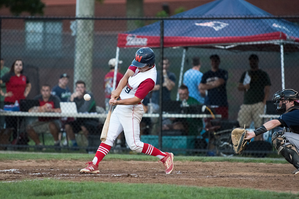 . Dirt Dawgs hitter Jack Gethings hits the ball deep into left for a double during game 1 of the Futures League playoffs where the Wachusett Dirt Dawgs face off against the Worcester Bravehearts on Tuesday Aug. 8, 2017 at Doyle Field in Leominster.  SENTINEL & ENTERPRISE/ JEFF PORTER