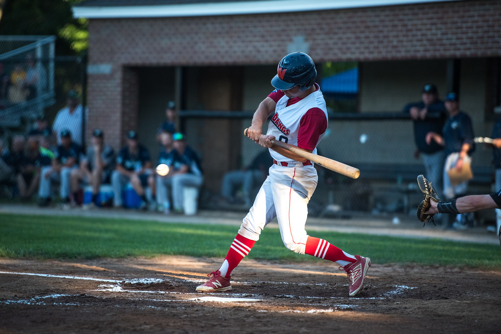 . Jack Gethings of the Dirt Dawgs hits the ball infield and is thrown out at first during game 1 of the Futures League playoffs where the Wachusett Dirt Dawgs face off against the Worcester Bravehearts on Tuesday Aug. 8, 2017 at Doyle Field in Leominster.  SENTINEL & ENTERPRISE/ JEFF PORTER