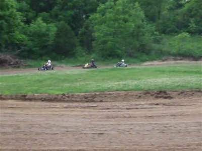 Micheal, Ronnie and Ed on their 250cc karts.