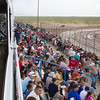 They hadn't even started rolling the track at this point and seats were becoming hard to find.