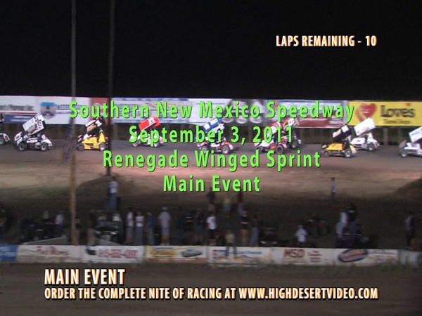 Royal Jones, co-owner of Southern New Mexico Speedway takes a ride after being driven into the front wall during the Renegade Winged Sprint Main Event on September 3, 2011.