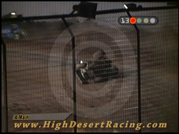El Paso Speedway Park, El Paso, TX - 8/28/2009. Robert Herrera, driving the #9 Renegade Winged Sprint Car catches a tire berm in turn #1 during the Sprint Main Event. Robert was uninjured and returned to compete the following night at Southern New Mexico Speedway in Las Cruces, NM.
