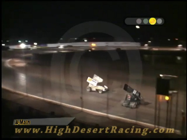 JR Patton does the obligatory victory donut after winning the El Paso Speedway Park Renegade Winged Sprint Main event on August 22, 2008. Well, he tried to do a victory donut, but the #36 of Joe Alvarado was still on the track.